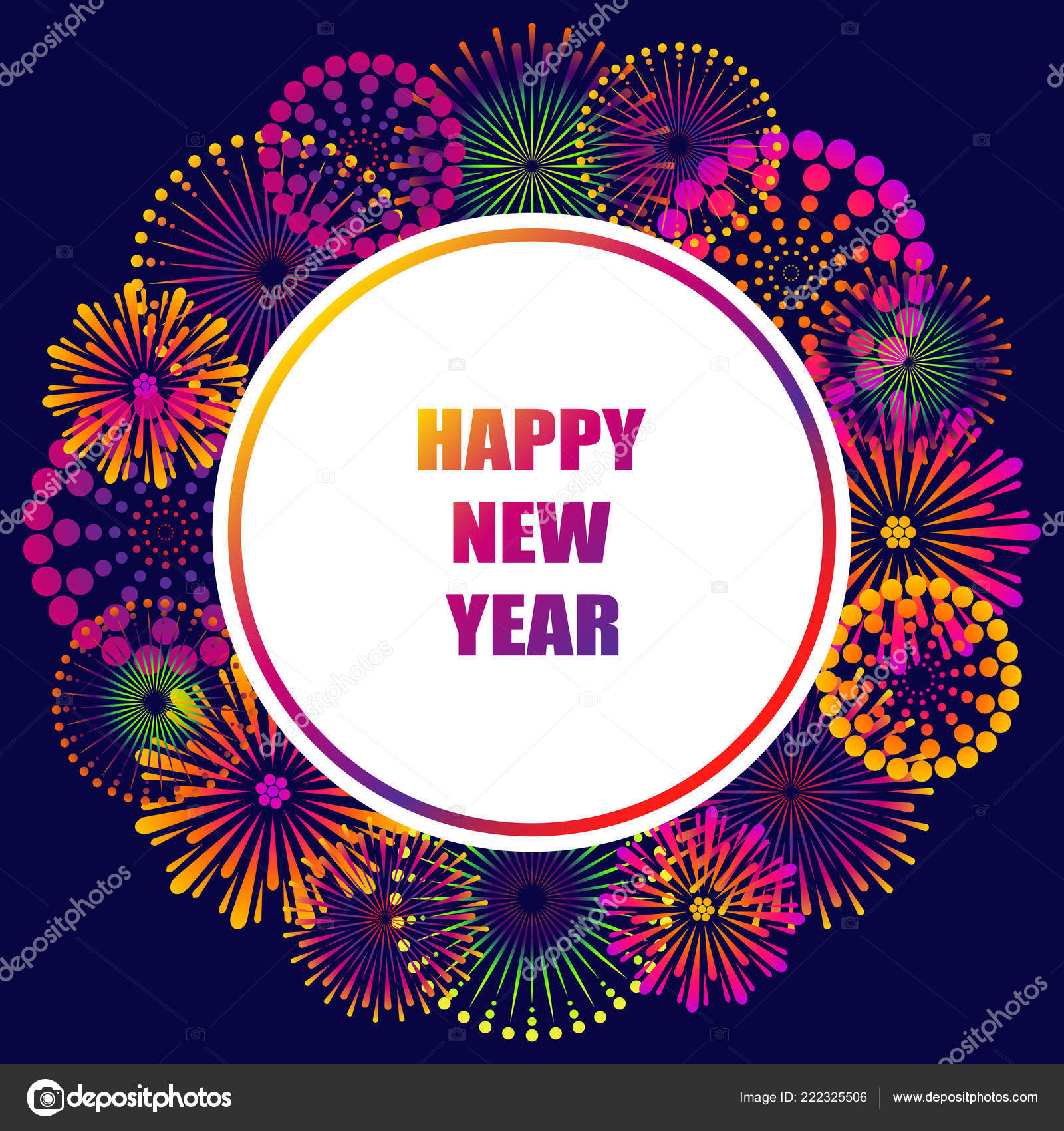 happy new year greeting card festive background abstract fireworks night stock vector