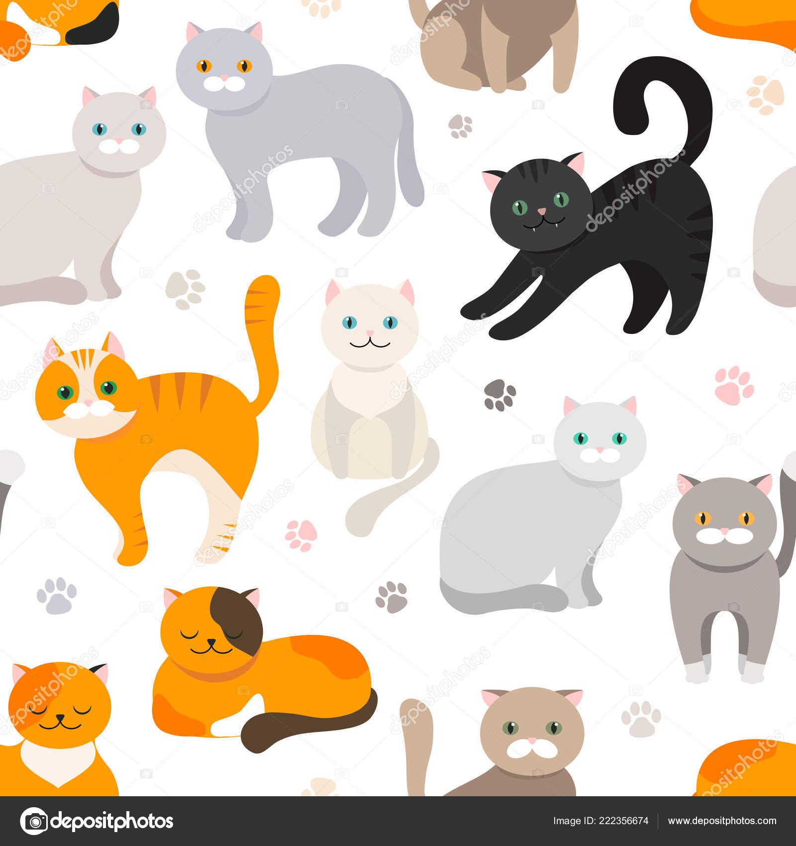 Fondo Gato Patrones Sin Fisuras Dibujo Plano Vector Gatito Animales ...