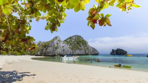 White sand beautiful beach at Tropicana country under clear sky and mountain located south of Thailand