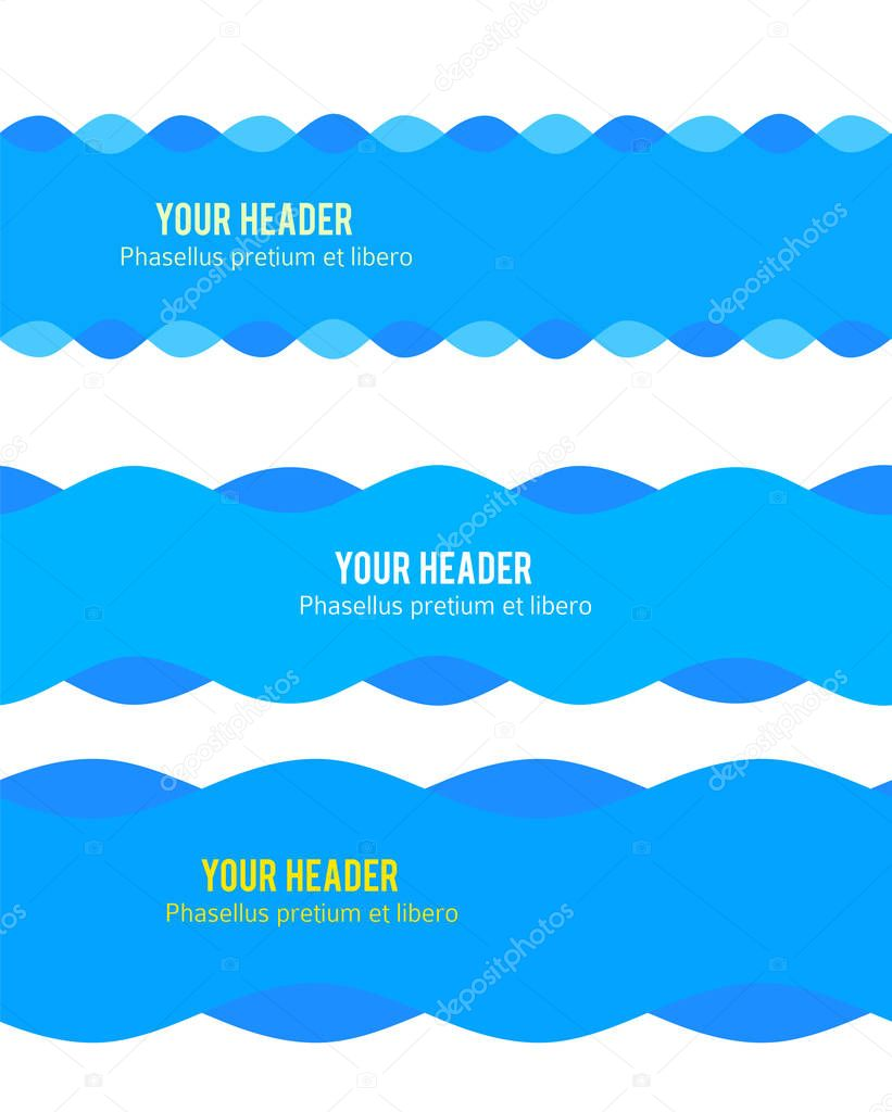 Freshness natural theme, Fresh Water background blue. Set elements design seamless wave. Abstract wavy for overlaying background of page under title front label spa products. Vector illustration eps10