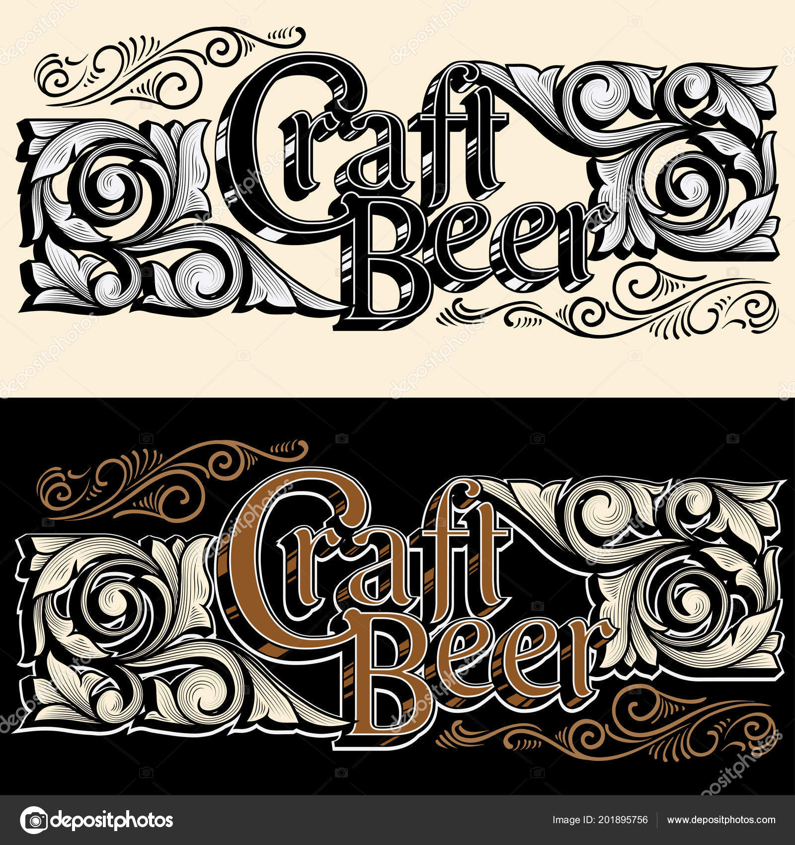 Set Craft Beer Emblems Beige Background Vector Illustration U2014 Vetor De Stock