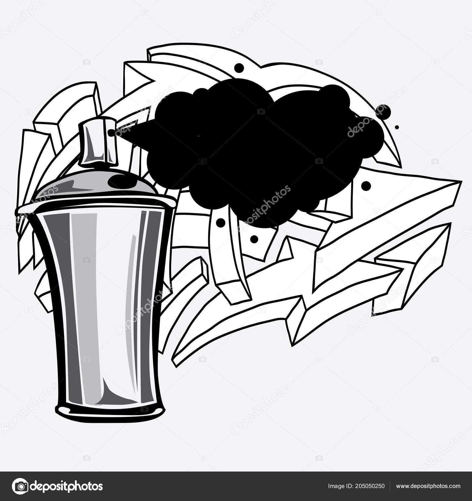 Spray Can Graffiti Arrows Vector Illustration