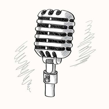 Vintage hand-drawn microphone