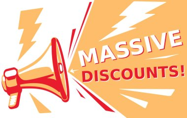 advertising sign with megaphone and text massive discounts
