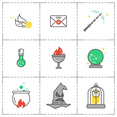 Magic vector icon set. Wizard equipment. Line style