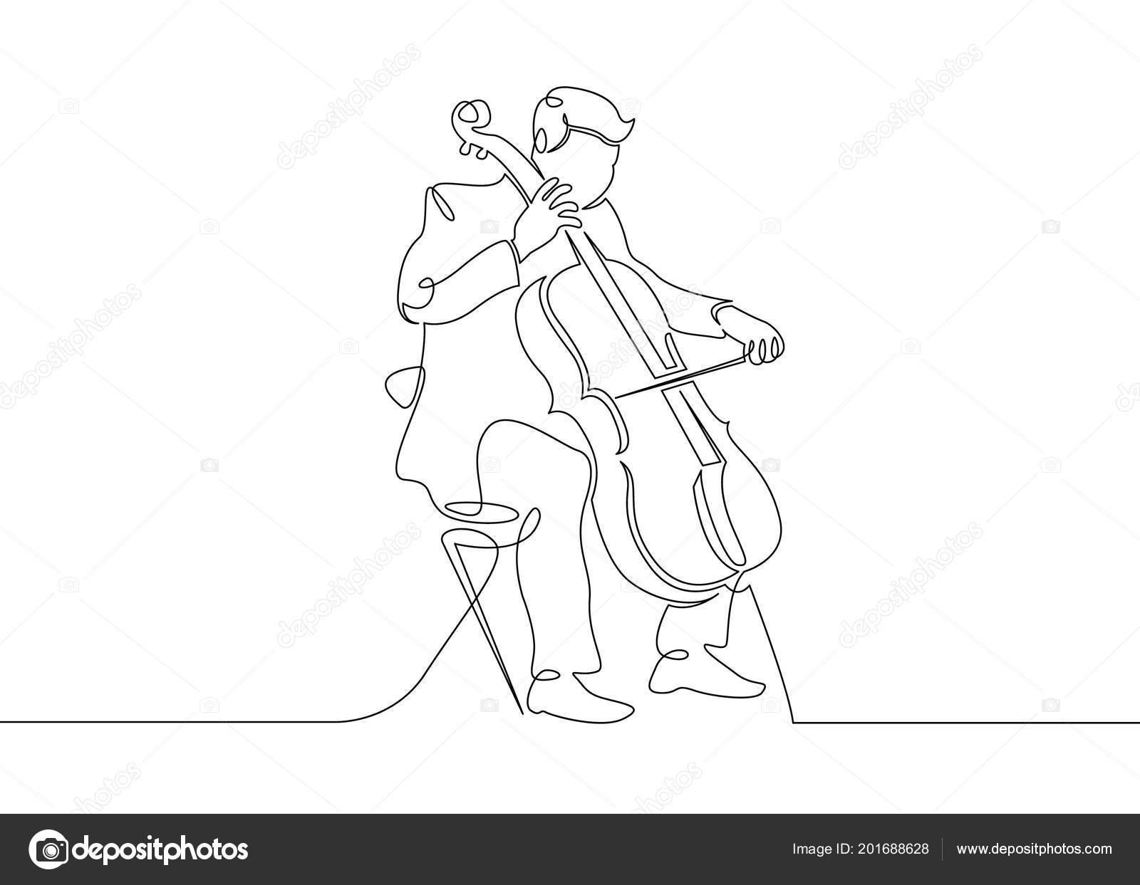 Ciągłe Pojedyncze Ciągnione Pojedynczy Wiersz Muzyk Jest