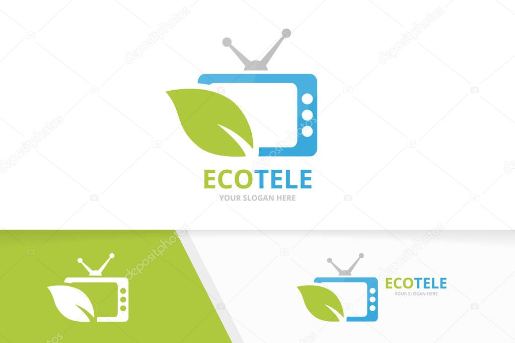 Vector tv and leaf logo combination. Television and eco symbol or icon. Unique media and organic logotype design template.