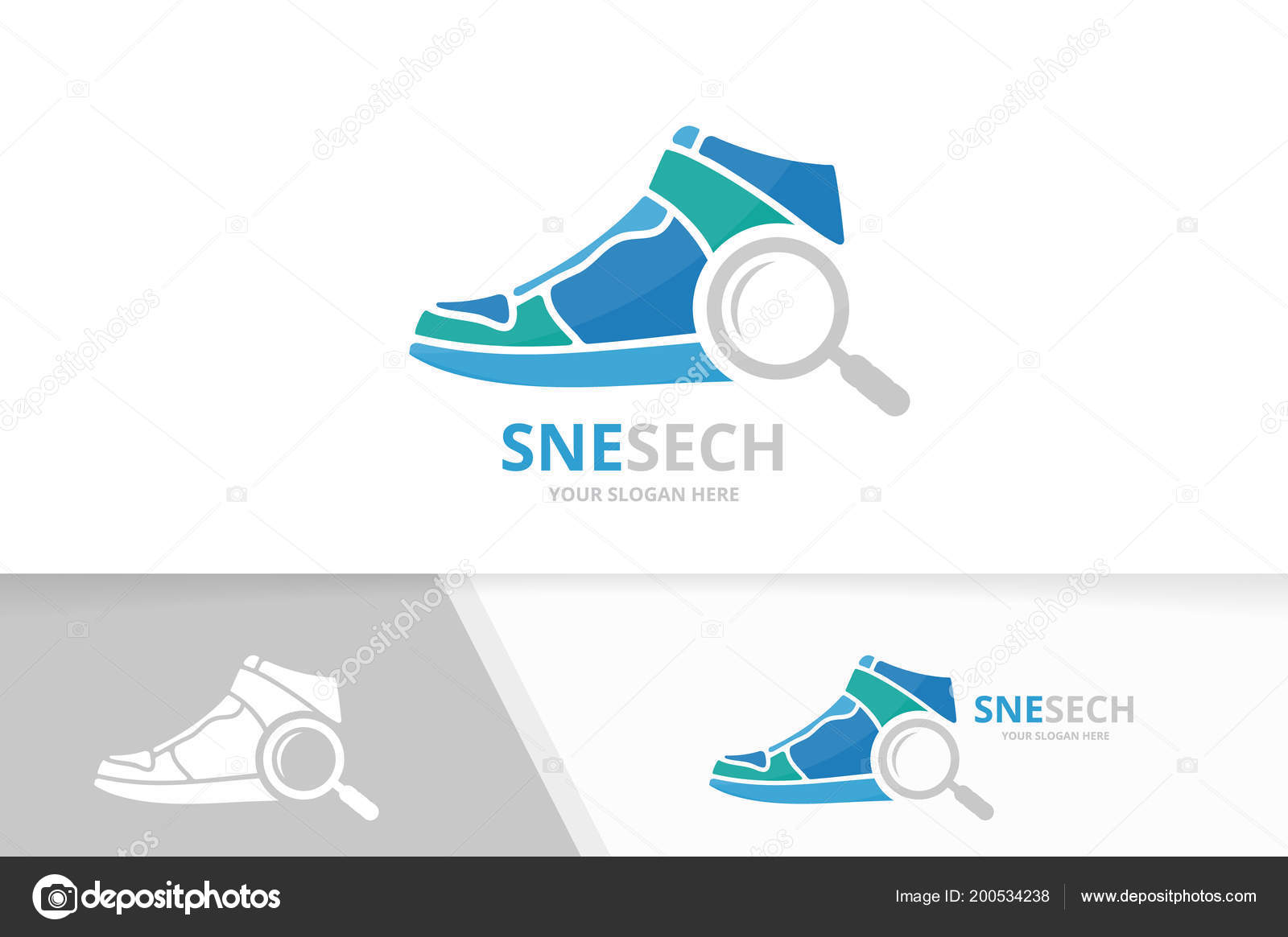 Vector Sneaker And Loupe Logo Combination Shoe Magnifying Symbol Or Icon Unique Footwear