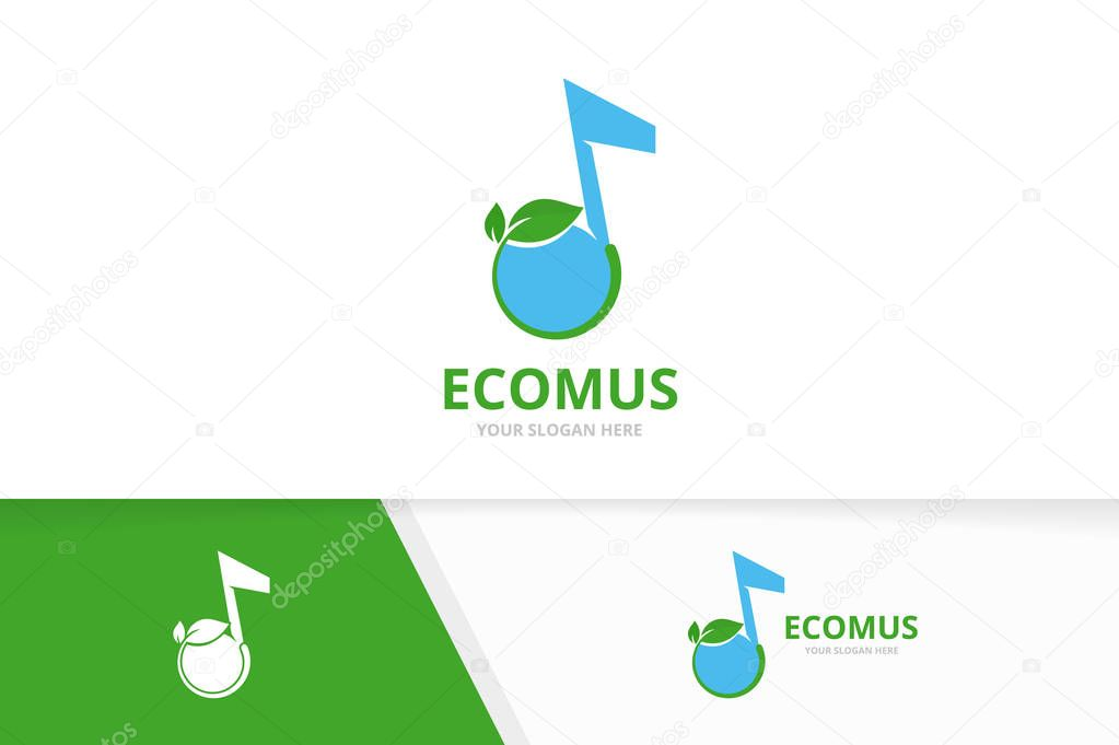 Vector note and leaf logo combination. Music and plant symbol or icon. Unique sound and organic logotype design template.