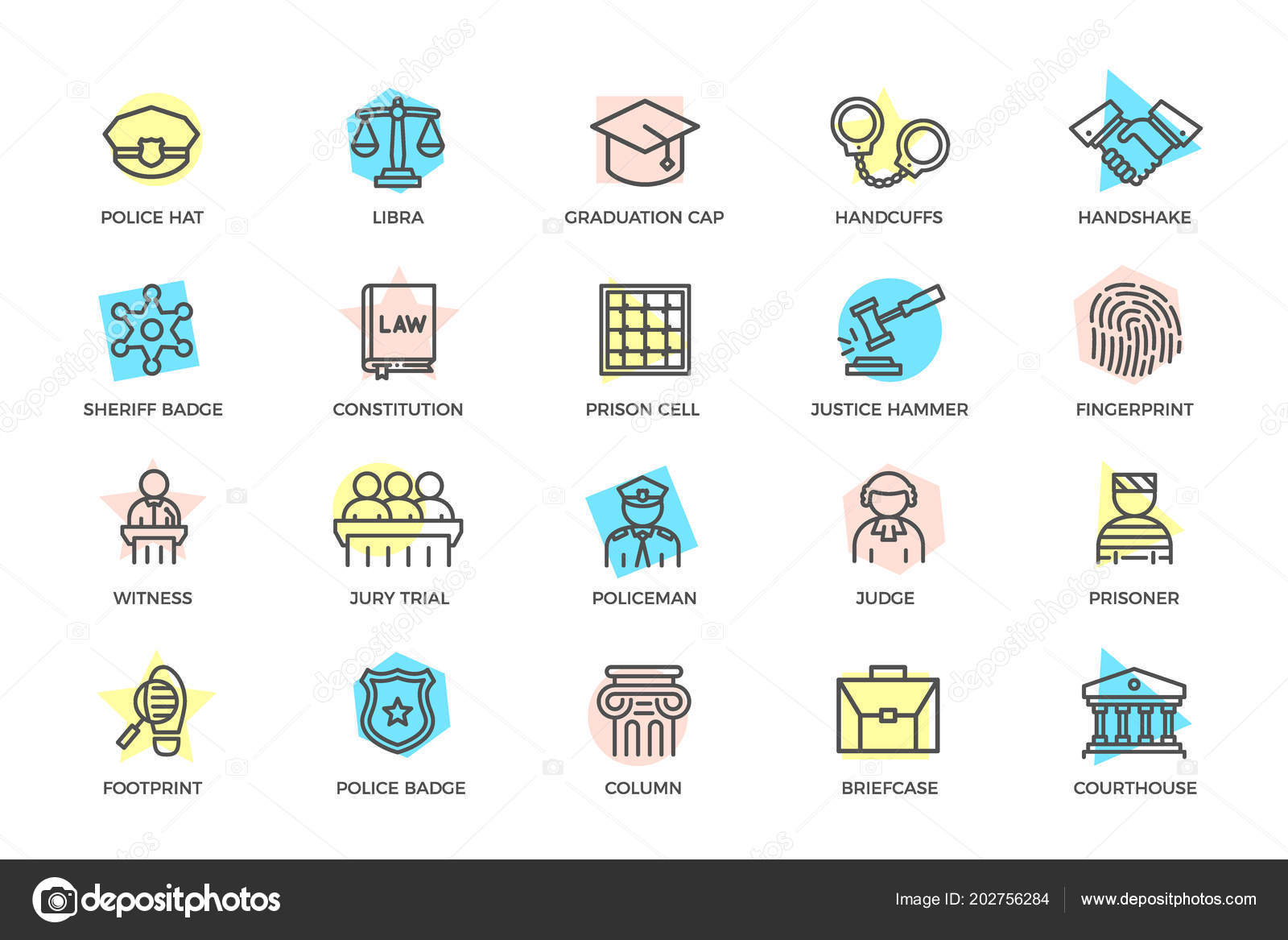 Set Of Vector Crime Law Police And Justice Colored Line Icons With