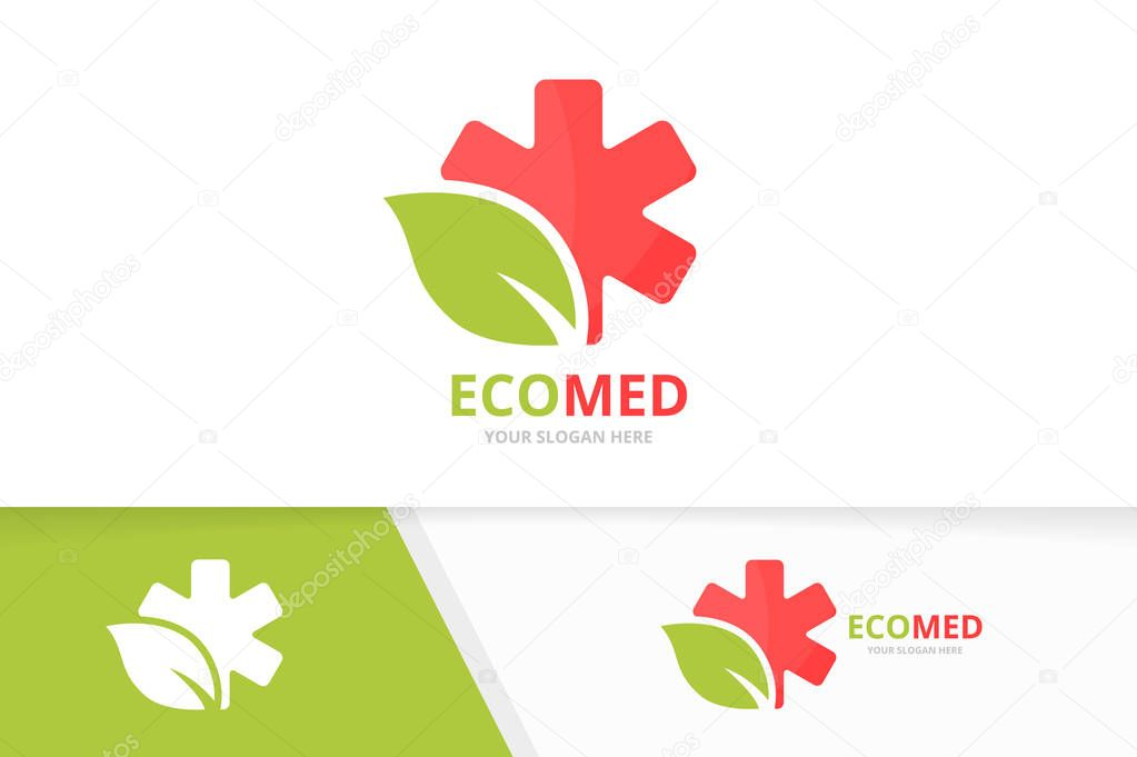 Vector ambulance and leaf logo combination. Medical and eco symbol or icon. Unique emergency and organic logotype design template.
