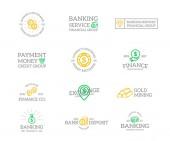 Sada retro vintage peníze a banky logo nebo insignie, emblémy, štítky a odznaky a jiné značky objektů. styl čáry
