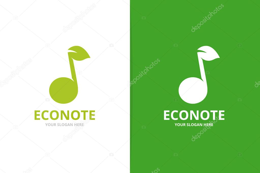Vector note and leaf logo combination. Music and eco symbol or icon. Unique sound and organic logotype design template.