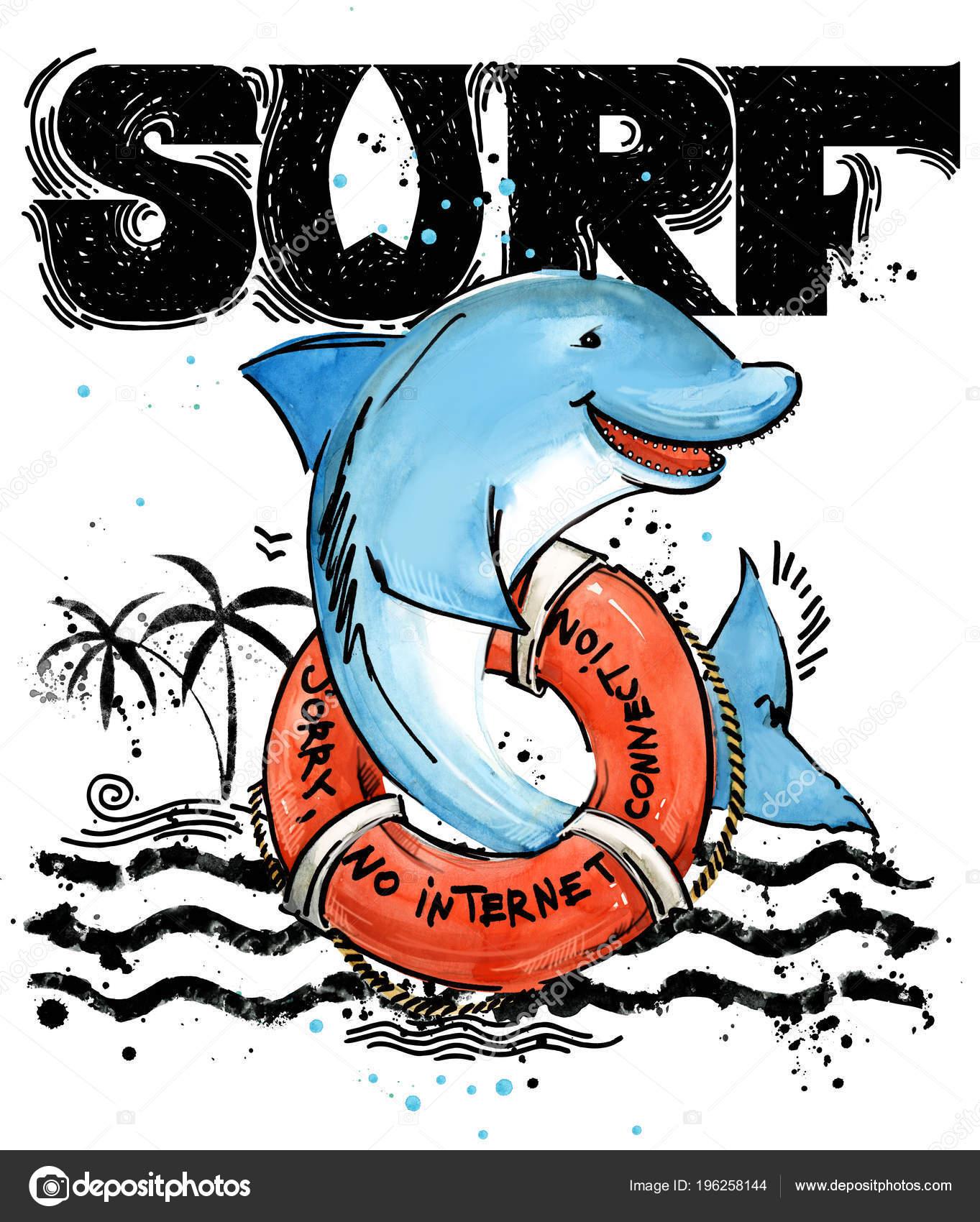 Peces Dibujos Animados Lindo Vintage Surf Mano Texto Dibujado ...