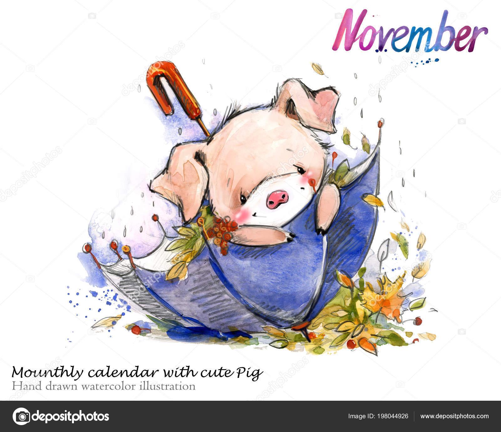 かわいいブタの手描き水彩イラスト ピグレットと mounth カレンダー