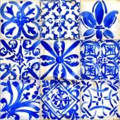 Fotografie Keramické obkladové prvky designu ilustrace. akvarelu geometrický vzor bezešvé. abstraktní retro pozadí