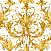 Photo seamless pattern golden lace. floral jewelry design. watercolor hand drawn luxury background.