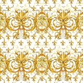 Fotografie seamless pattern golden lace. floral jewelry design. watercolor hand drawn luxury background.