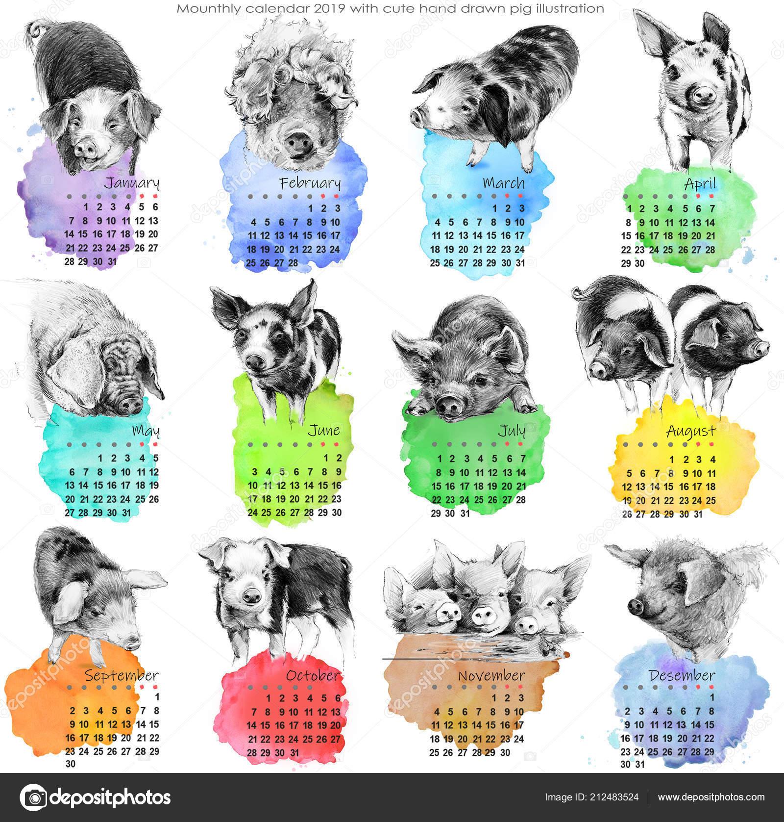 Calendario 2019 Lindo Calendario Mensual Con Ilustración Lindos