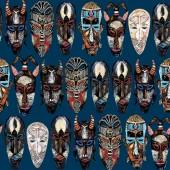 Modello senza cuciture etnico maschera. disegnato a mano sfondo totem tribale africano