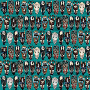 ethnic mask seamless pattern. hand drawn african tribal totem background
