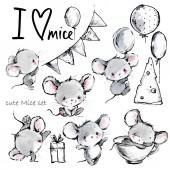 Fotografie roztomilý kreslený myši sada. Legrační myš ilustrace