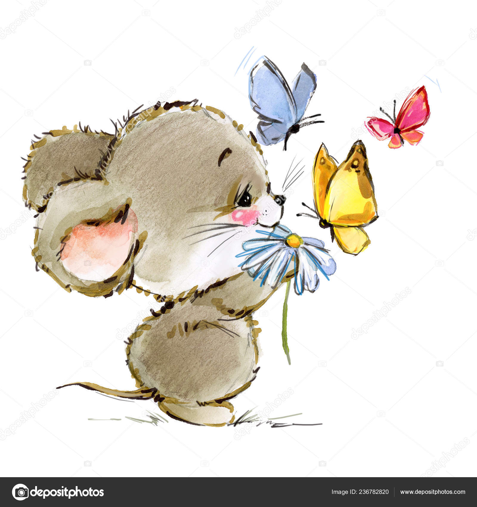 Pics Baby Mice Cartoon Mouse Watercolor Illustration Cute