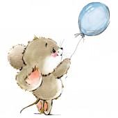 Fotografie Kreslená myš akvarel ilustrace. roztomilý myší
