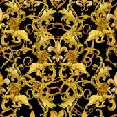 arany láncok damaszt zökkenőmentes luxus kivitelben. arany oroszlán mintával. Vintage gazdagság csipke háttér. akvarell fleur-de-lis illusztráció. Royal liliom