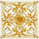Sciarpa in seta con catene dorate. Testa di leone. design di gioielli scialle. disegnato a mano dellacquerello sfondo di lusso.