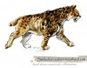 Fotografie Ice Age wildlife. prehistoric period fauna. watercolor animal.