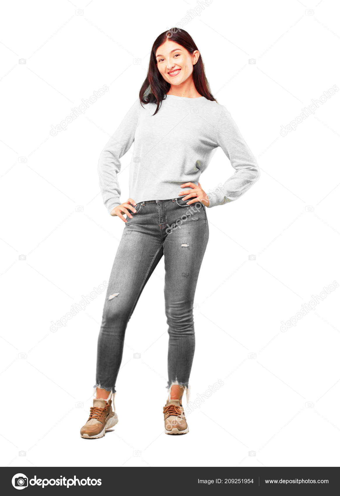 Young pretty girl full body stock photo