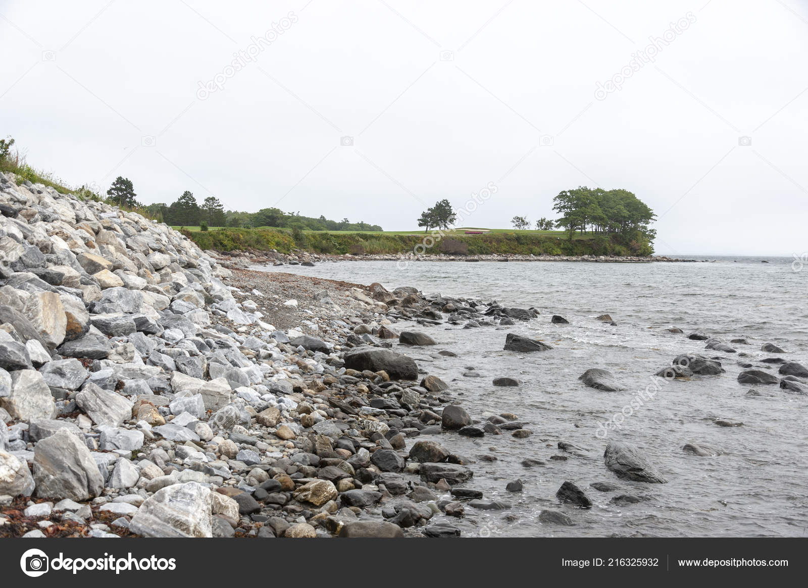 Rockland Maine Usa September 2018 Rocky Shoreline Rockland
