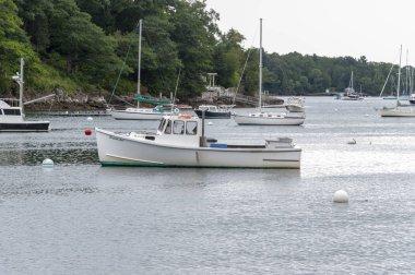 Rockport, Maine, USA - September 19, 2018: Lobster boat Brenda Lee on mooring in Rockport harbor
