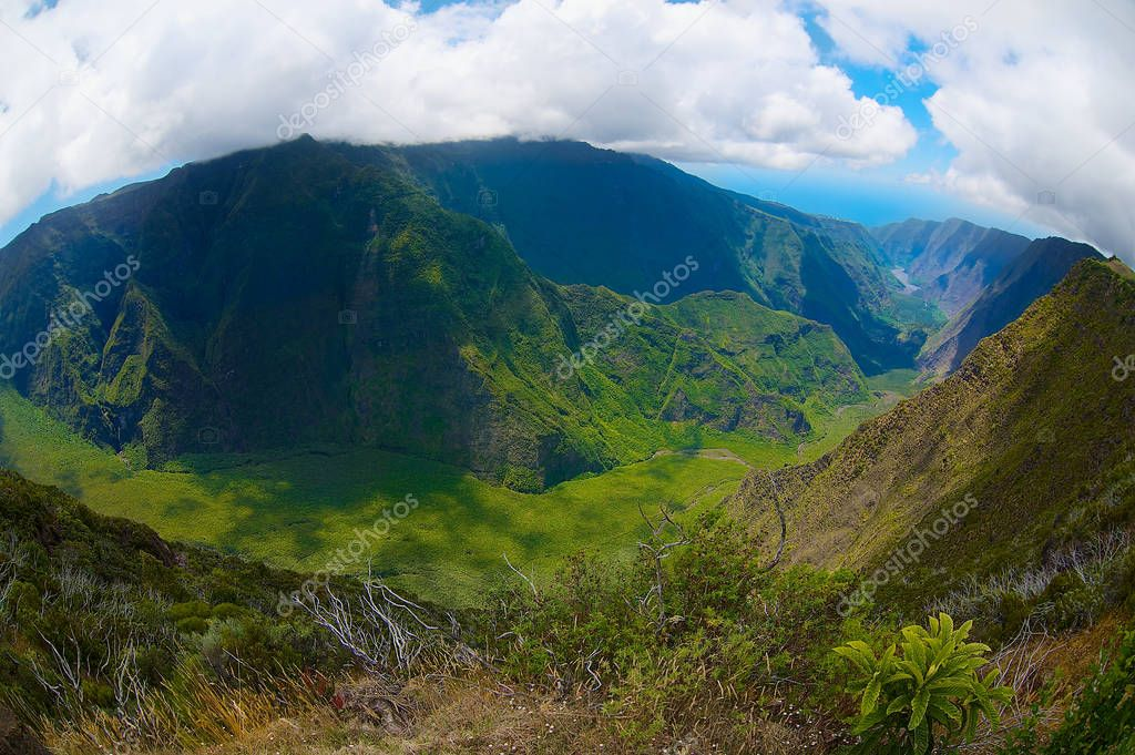 Beautiful volcanic landscape at La Reunion National park at Reunion island.