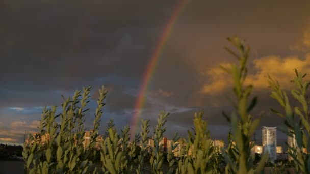 Amazing sky with two rainbows in slow motion.