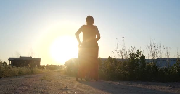 Lovely woman in a red dress riding her child in a pram at sunset in slo-mo