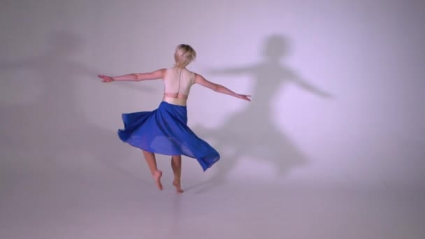 A yound blonde girl spinning ballet pirouette in slow motion