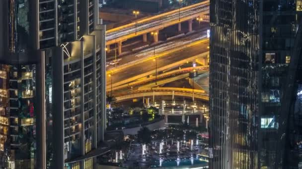 Dubai traffic at night timelapse with beautiful city