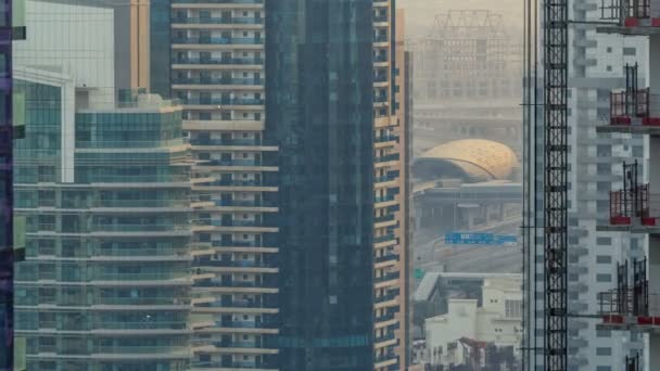Amazing colorful dubai marina skyline during sunset timelapse