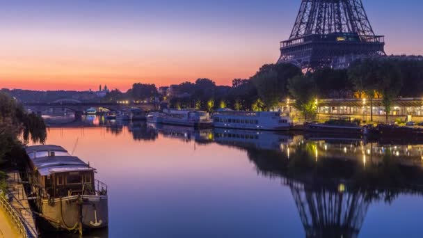 Eiffel Tower and the Seine river night to day timelapse, Paris, France