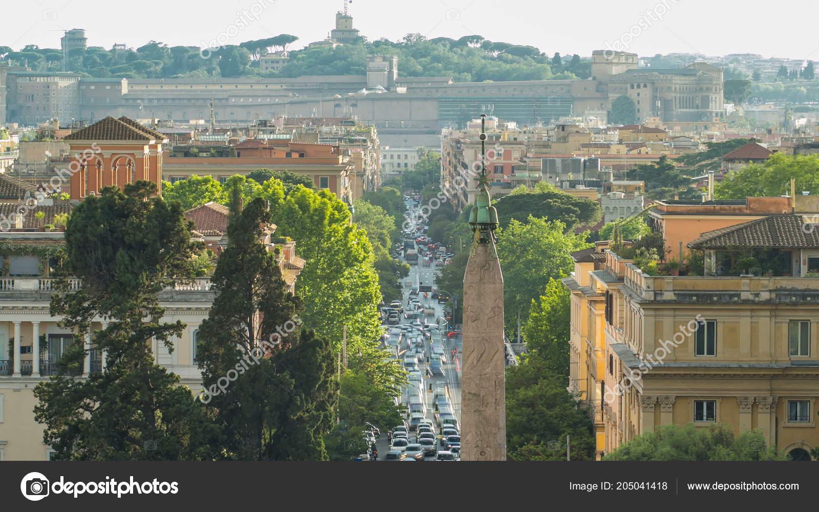 Piazza Del Popolo Flaminia Timelapse Visto Dalla Terrazza