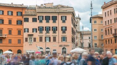 The fountain of Neptune on Navona square timelapse in Rome, Italy. Crowd and old historic buildings