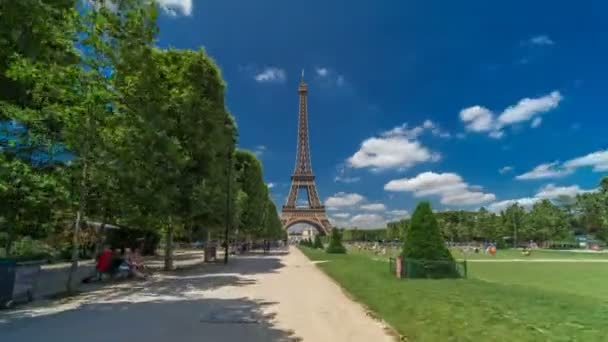 Eiffel Tower on Champs de Mars in Paris timelapse hyperlapse, France