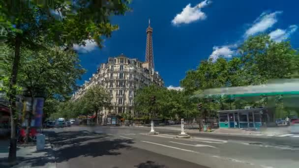 Eiffel Tower behind historic buildings in Paris timelapse hyperlapse, France