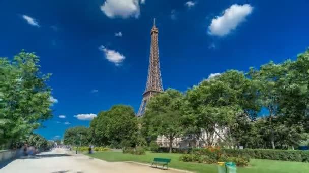 Eiffel Tower from Siene river waterfront in Paris timelapse hyperlapse, France