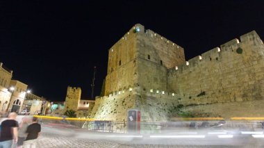 Tower of David night timelapse hyperlapse is so named because Byzantine Christians believed the site to be the palace of King David. The current structure dates from the 1600's. Jerusalem, Israel