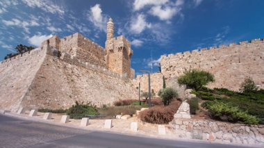 Tower of David timelapse hyperlapse is so named because Byzantine Christians believed the site to be the palace of King David. The current structure dates from the 1600's. Jerusalem, Israel