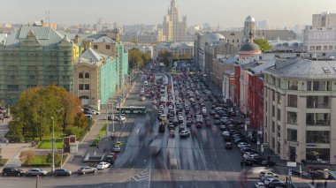 above view of Lubyanskaya and Novaya Square in Moscow timelapse from roof in spring day, Russia 4K