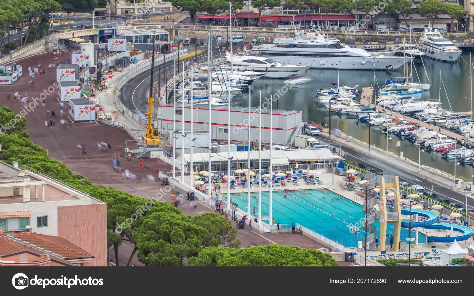Seaside Swimming Pool Monaco Timelapse People Buildings ...